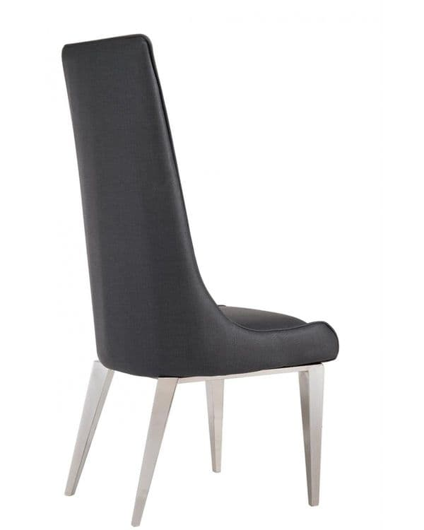 Exige Grey Marble And Chrome Dining Chairs x 2